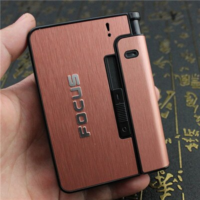 Home Best Portable Metal Cigarette Boxes With  Lighter 10pcs Cigarette Holder