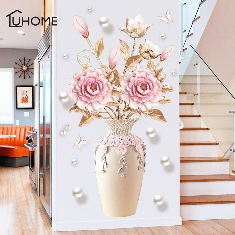 Beautiful Flowers Vase Wall Sticker