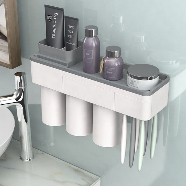 Toothbrush Holder Makeup Cleanser  Toothpaste Bathroom Storage Set