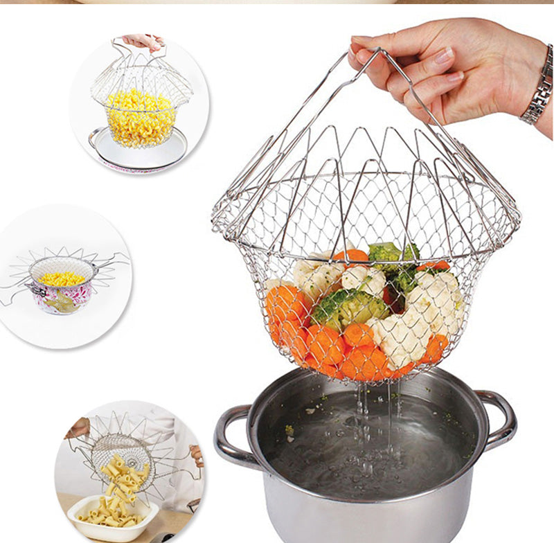 Home Best Steam Rinse Strain Stainless steel folding frying basket