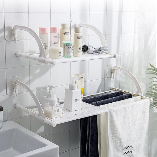 Bathroom Rack Toilet Storage Rack Bathroom Towel Rack Free Hole Bathroom Organizer Towel Rack Wall Hanging Telescopic Finishing