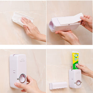 Automatic Toothpaste Dispenser 5 Toothbrush Holder Set Wall Mount
