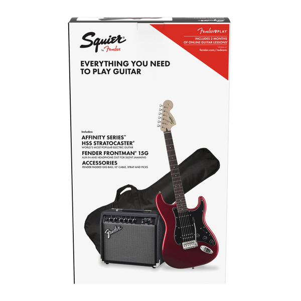Squier Affinity Stratocaster HSS Electric Guitar Package with Amp - Candy Apple Red