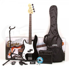Encore E4 Bass Guitar Blaster Pack - Left Handed - Black