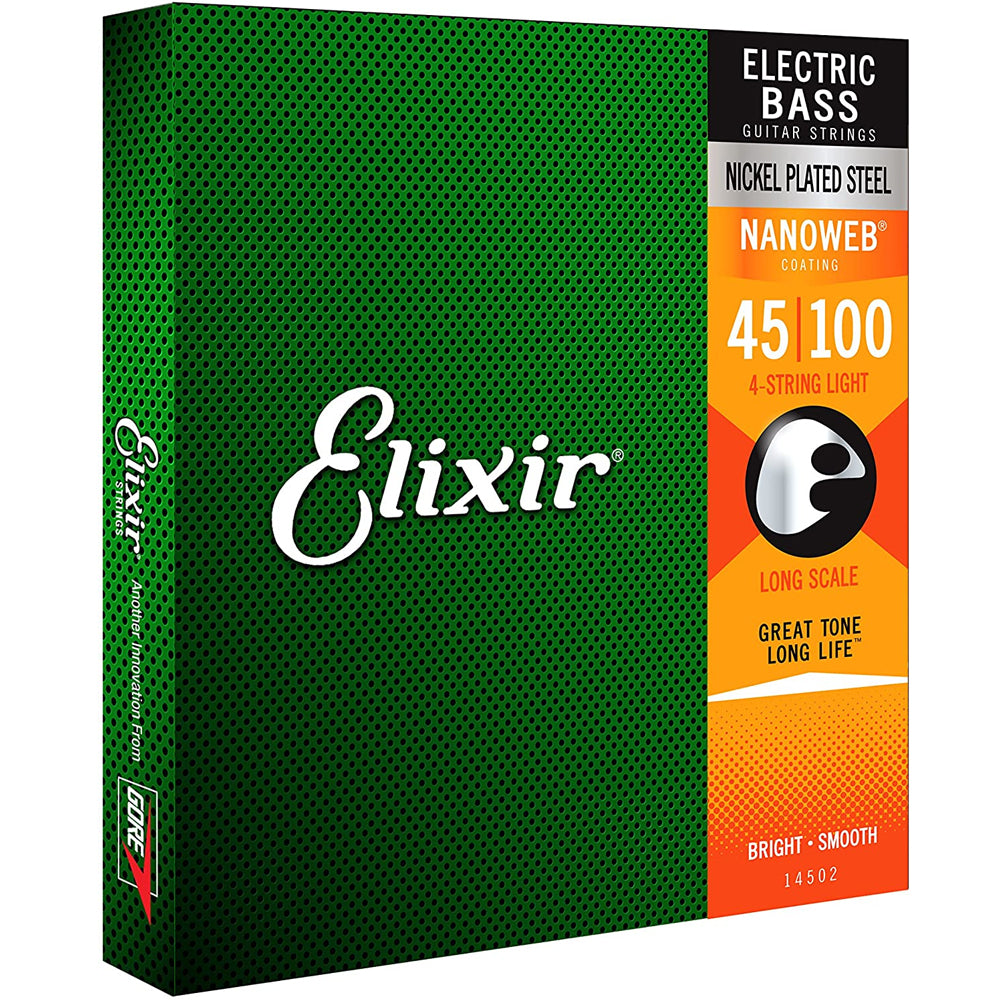 Elixir 14052 Nanoweb Coated Bass Guitar Strings Light 45-100