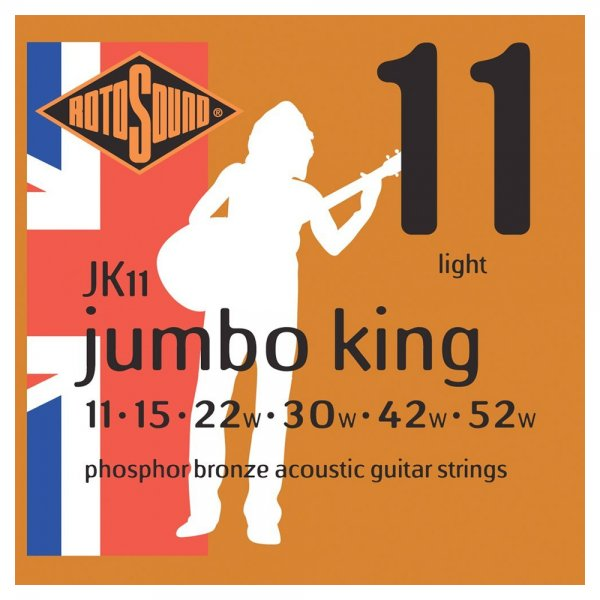 JK11 Jumbo King Phosphor Bronze Acoustic Guitar Strings Lights 11-52