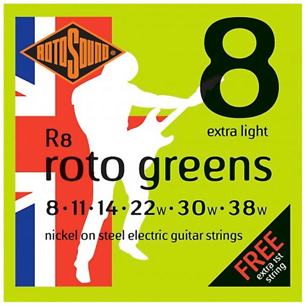 R8 Roto Greens Electric Guitar Strings - 8-38