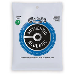 Martin Strings MA530 Phosphor Bronze Authentic Acoustic Guitar Strings Extra Light 10-47