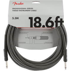 Fender Professional Series Instrument Cable - Straight - 5.5m 18.6ft - Grey Tweed