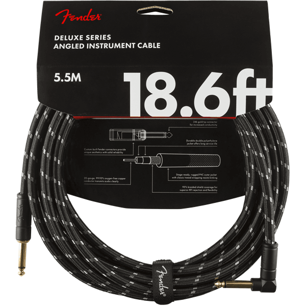 Deluxe Series Black Tweed Guitar Cable - 18foot (5.5 meters) - Right Angle