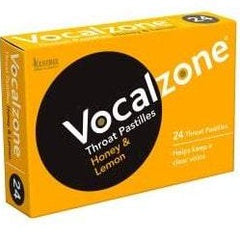 Vocalzone Throat Pastilles for Clear Vocals - Honey & Lemon