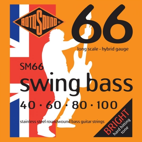 SM66 Swing Bass Stainless Steel Roundwound - Bass Guitar Strings - 40-100