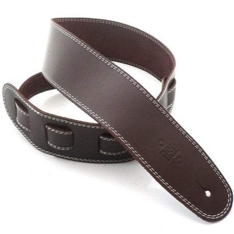 "Premium Leather Guitar Strap 2.5"" Wide - Brown with Beige Stitch"