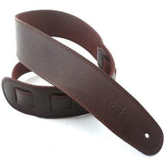 "DSL Straps Premium Leather Guitar Strap 2.5"" Wide - Brown with Brown Stitch"