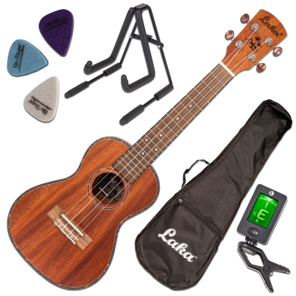VUC40 Concert Ukulele Package - Ukulele, Gig Bag, Stand, Clip-On Tuner, Picks