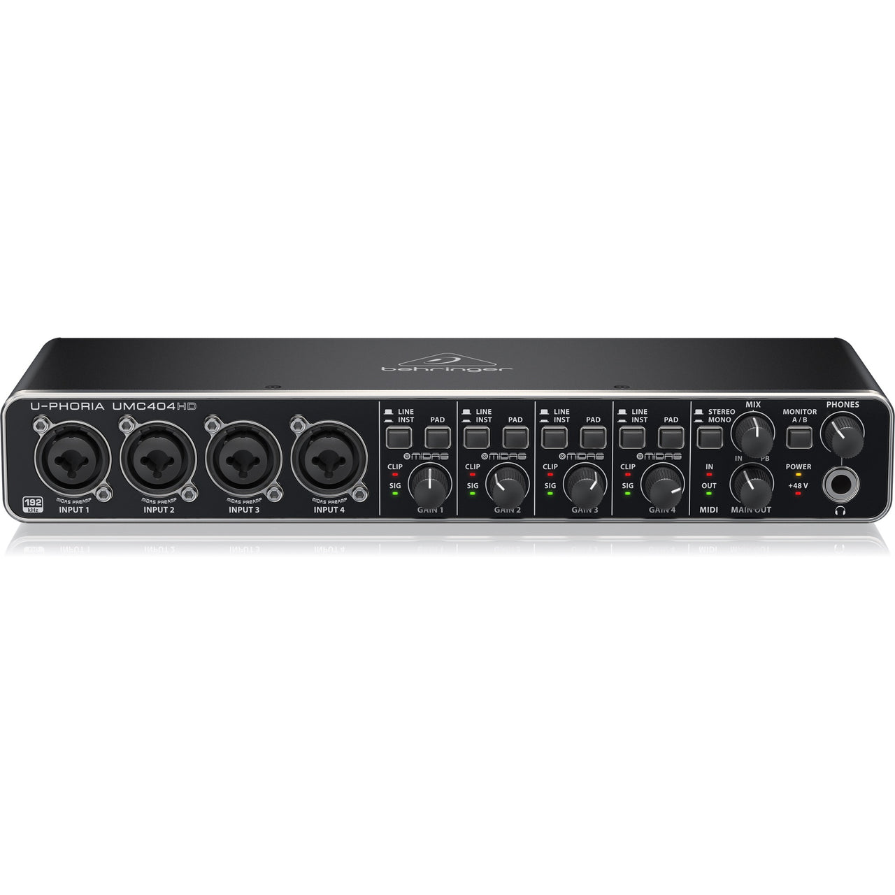 Behringer UMC404HD Audio Interface 4-Mic Input with Midas Mic Preamps