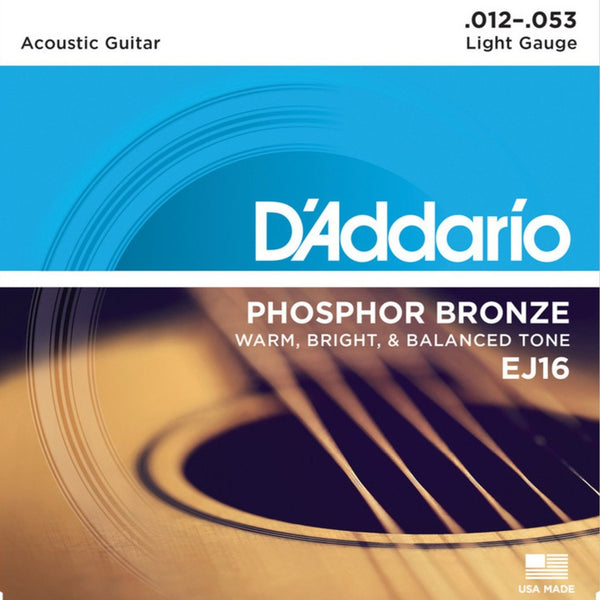 D'Addario EJ16 Phosphor Bronze Acoustic Guitar Strings Light 12-53