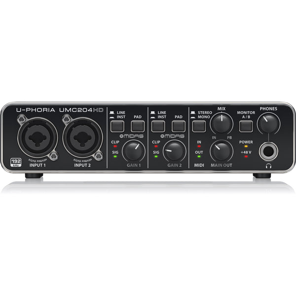 Behringer U-PHORIA UMC204HD Audiophile 2x4 - USB Audio/MIDI Interface with MIDAS Mic Preamplifiers