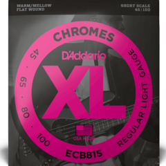 D'Addario ECB81s Chromes Bass Strings Light Short Scale - 45-100