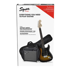 Squier Affinity Strat HSS & Fender Frontman 15G Amp Electric Guitar Package - Brown Sunburst