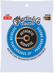 Martin Strings MA540 Phosphor Bronze Authentic Acoustic Guitar Strings Light 12-54