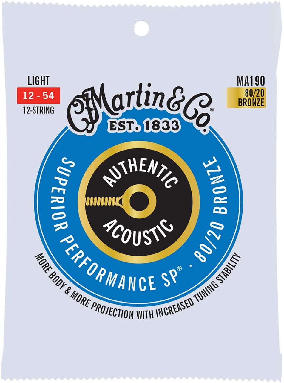 Martin Strings MA190 80/20 Bronze Authentic Acoustic Guitar Strings 12 String Light 12-54