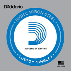 D'Addario Single Plain Steel Strings for Acoustic or Electric Guitar