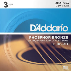 D'Addario EJ16-3D Phosphor Bronze Acoustic Guitar Strings Light 12-53 3 Pack