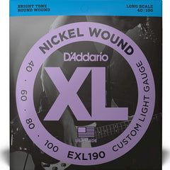D'Addario EXL190 XL Bass Guitar Strings Custom Light 40-100