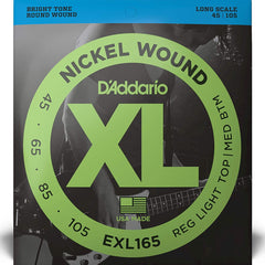 D'Addario EXL165 XL Bass Guitar Strings Light Top - Med Bottom 45-105