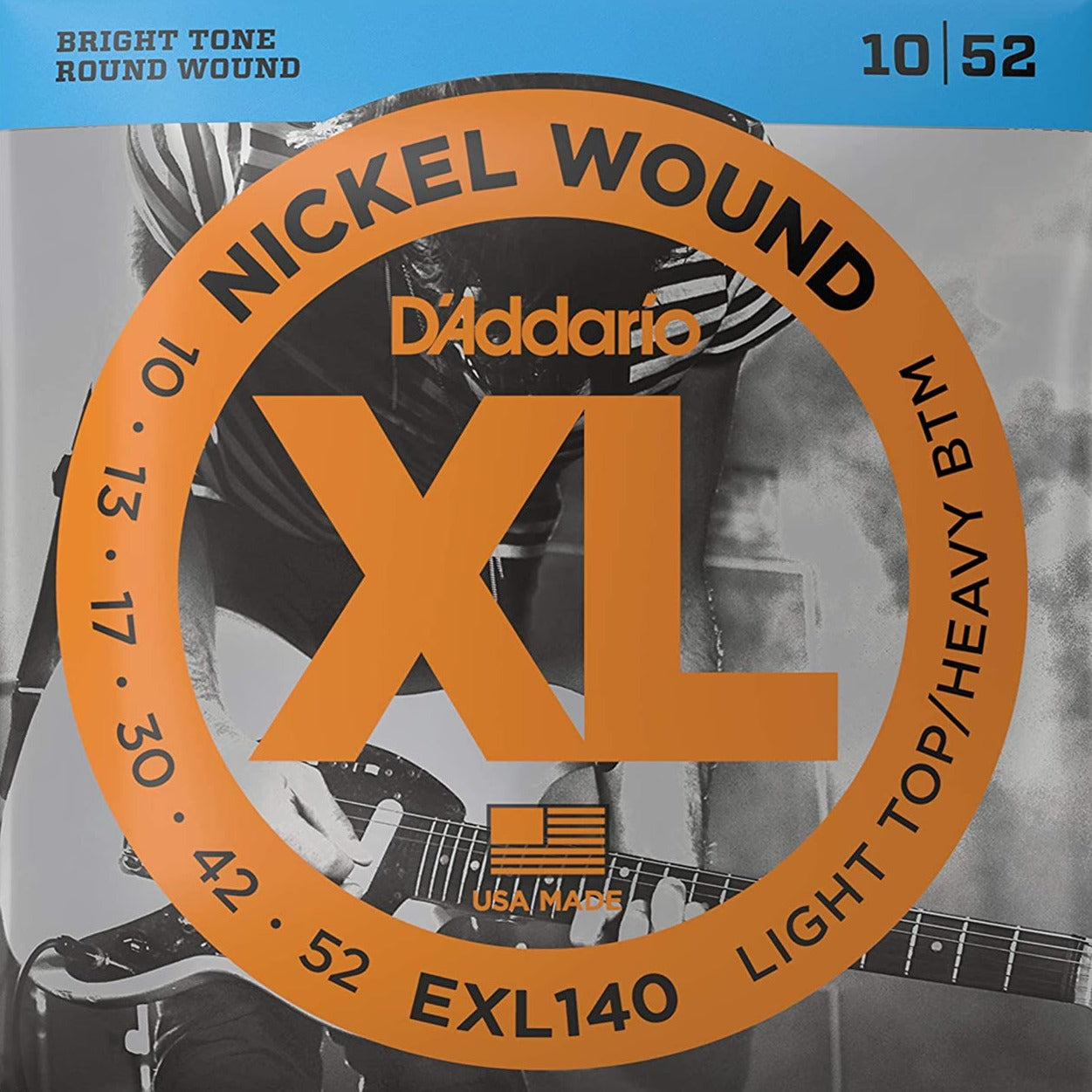 D'Addario EXL140 XL Electric Guitar Strings - Light Top/Heavy Bottom - 10-52