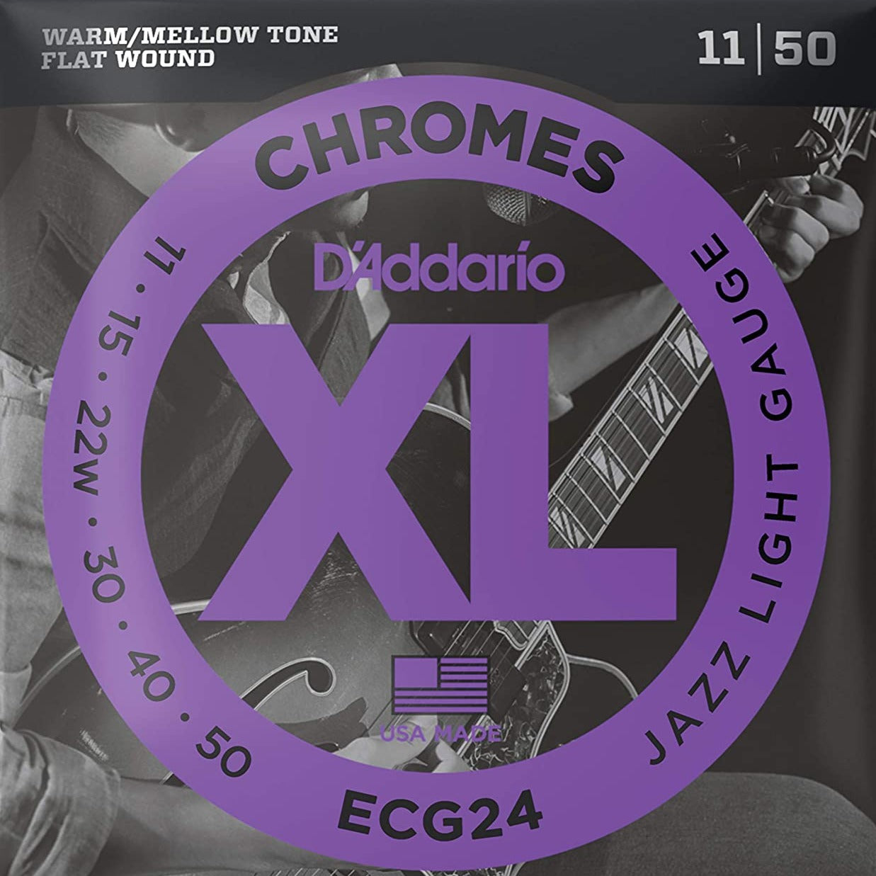 D'Addario ECG24 XL Chromes Flatwound Electric Guitar Strings Jazz Light 11-50