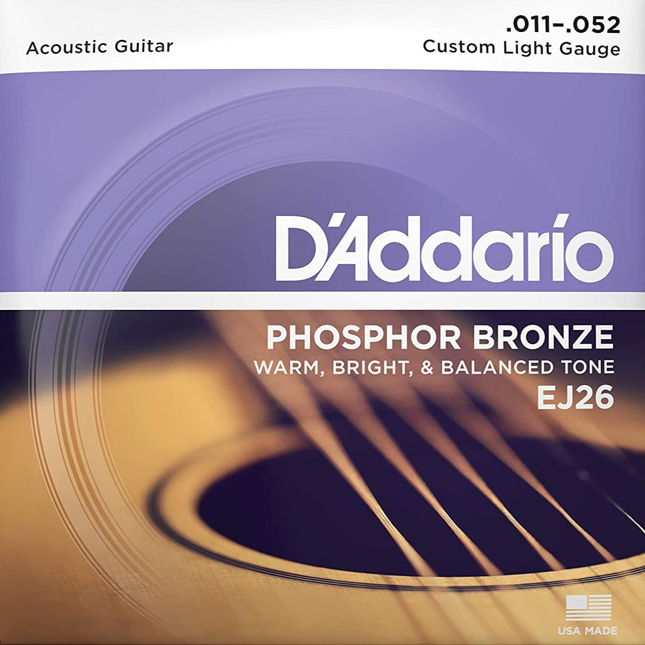 D'Addario EJ26 Phosphor Bronze Acoustic Guitar Strings Custom Light 11-52