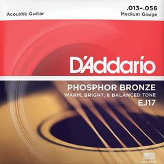 D'Addario EJ17 Phosphor Bronze Acoustic Guitar Strings Medium 13-56