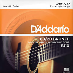D'Addario EJ10 80/20 Bronze Acoustic Guitar Strings - Extra Light - 10-47