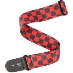 D'Addario Woven Guitar Strap - Large Checkerboard, Black & Red
