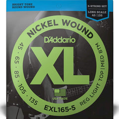 D'Addario EXL165-5 XL 5 String Bass Guitar Strings Long Scale Custom light Gauge 45-135
