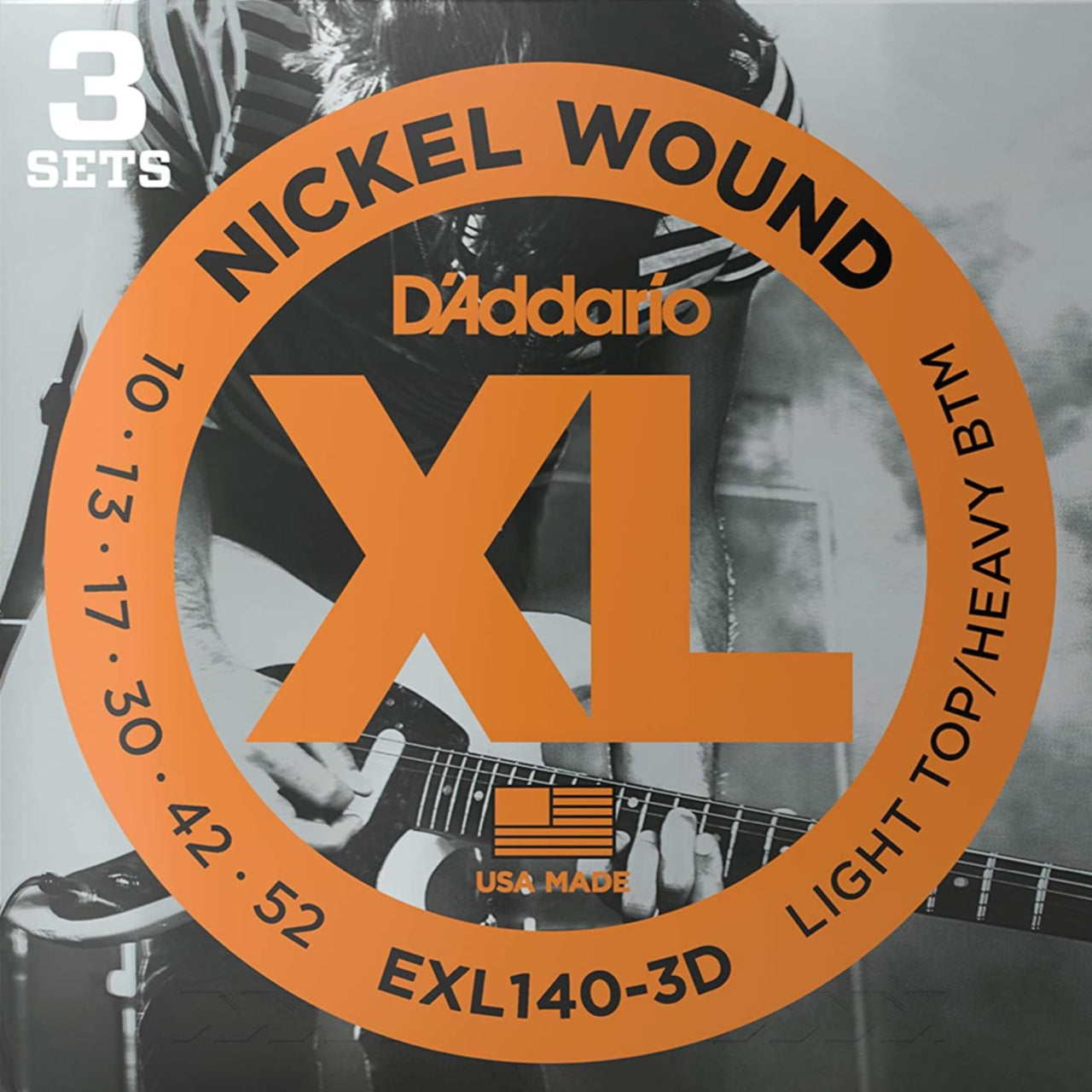 D'Addario EXL140-3D XL Electric Guitar Strings - Light Top/Heavy Bottom - 10-52 - 3 Pack