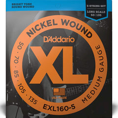 D'Addario EXL160-5 XL 5 String Bass Guitar Strings Long Scale Medium Gauge 50-135