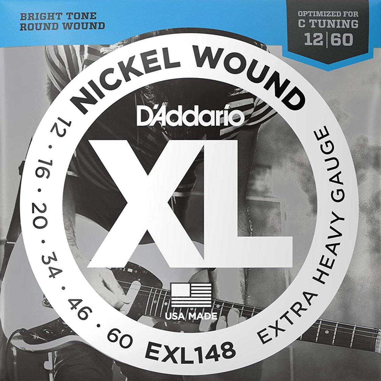D'Addario EXL148 XL Electric Guitar Strings - Extra Heavy (For Drop C) - 12-60