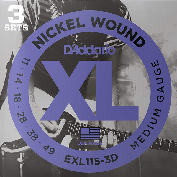 D'Addario EXL115-3D XL Electric Guitar Strings - Blues/Jazz Rock - 11-49 - 3 Pack