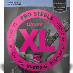 D'Addario EPS170-6 ProSteels 6-String Bass, Light, 32-130, Long Scale