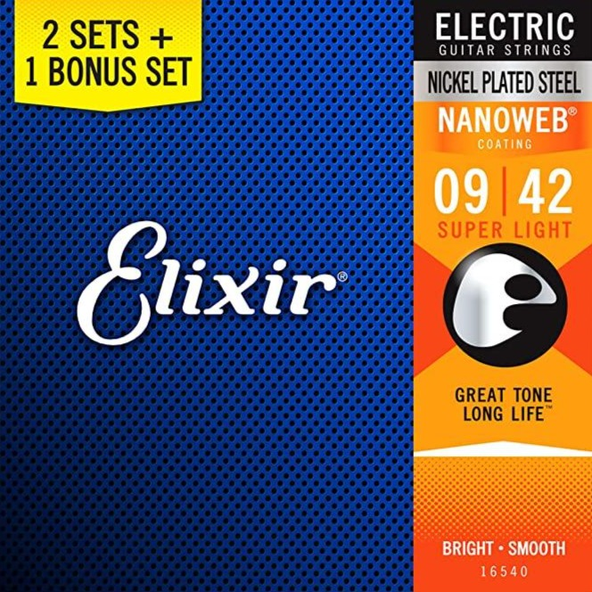 Elixir 16540 Nickel/Steel Nanoweb Super Light Electric Strings 09-42 3 for 2