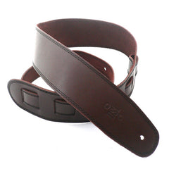 "DSL Straps Premium Leather Guitar Strap 2.5"" Wide - Brown with Black Stitch"