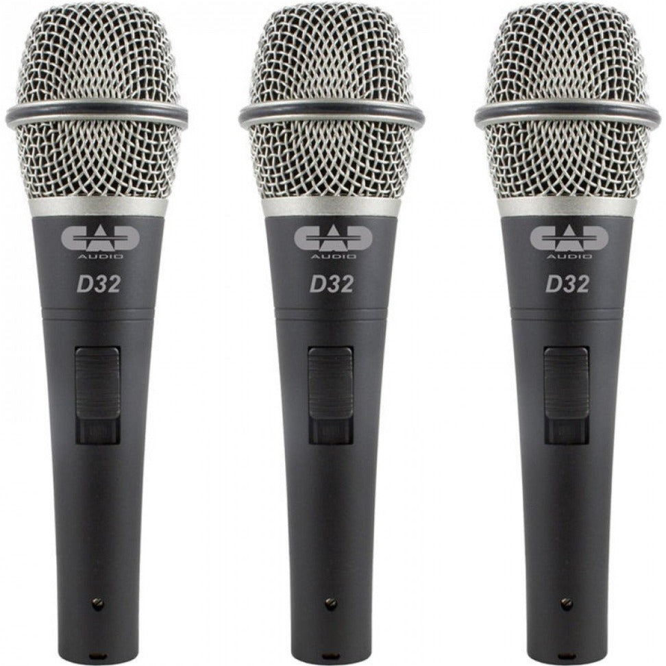 CAD Audio Live D32 Supercardioid Dynamic Vocal Microphone - 3 Pack