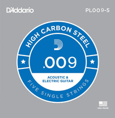 D'Addario 5x Plain Steel Guitar Strings .009 for Electric & Acoustic