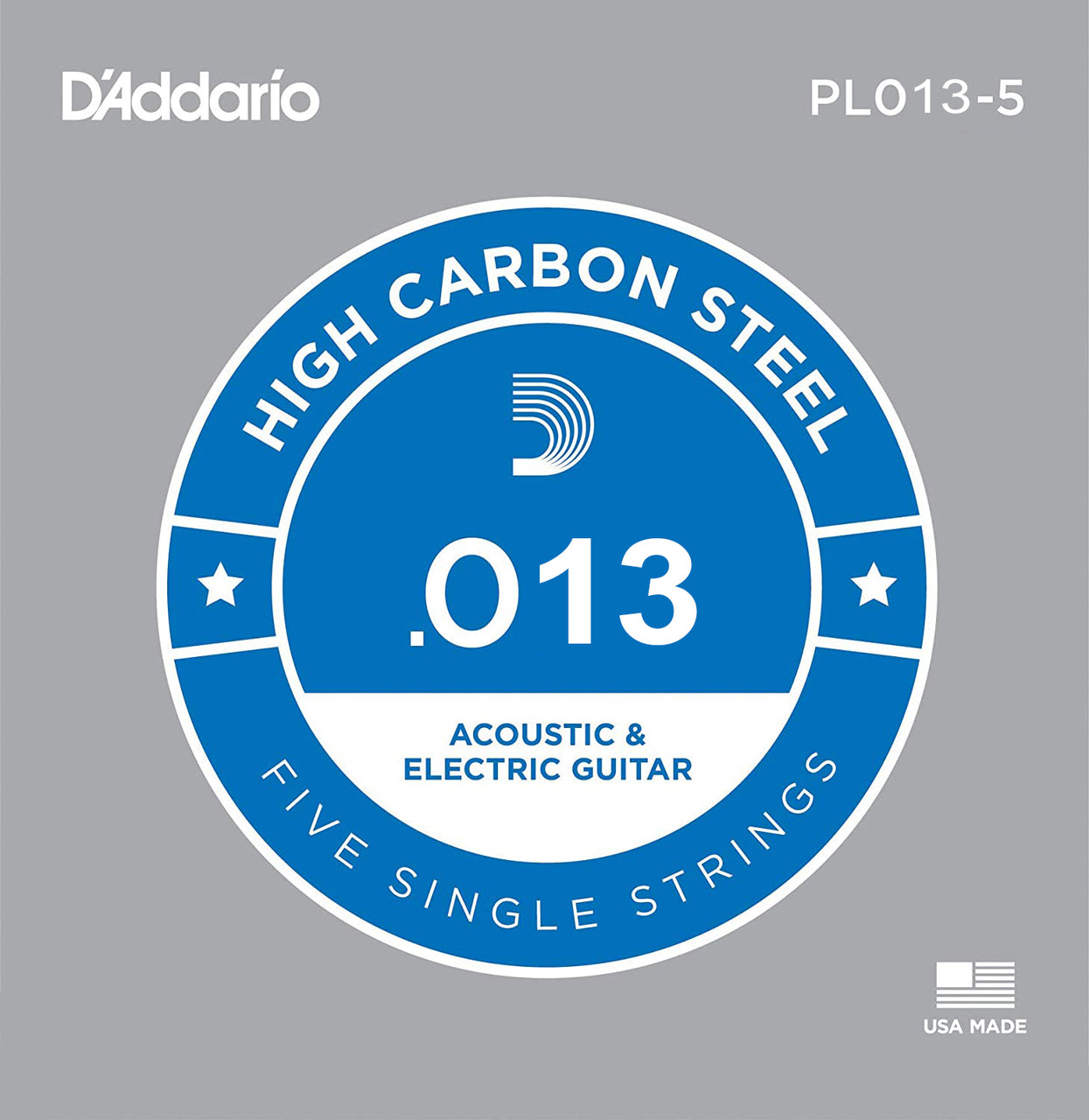 D'Addario 5x Plain Steel Guitar Strings .013 for Electric & Acoustic