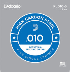 D'Addario 5x Plain Steel Guitar Strings .010 for Electric & Acoustic