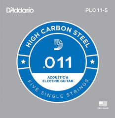 D'Addario 5x Plain Steel Guitar Strings .011 for Electric & Acoustic