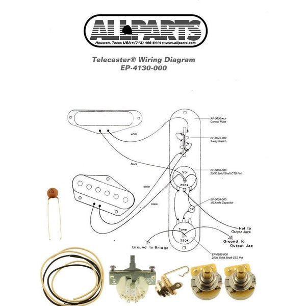 All Parts EP-4130-000 Wiring Kit for Telecaster® - Made in USA